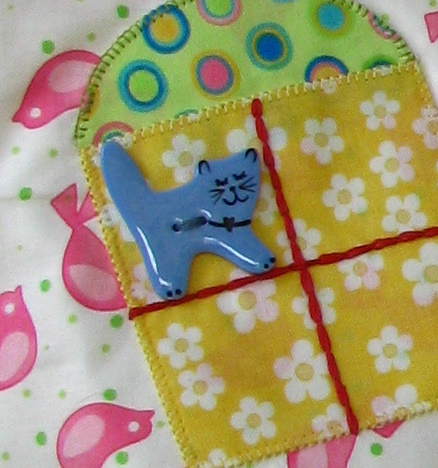 Blue kitty Cat button