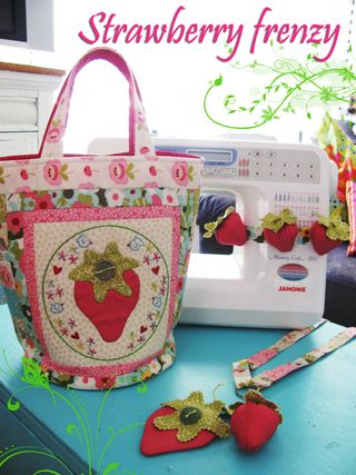 Strawberry Frenzy sewing trio inspired stitches