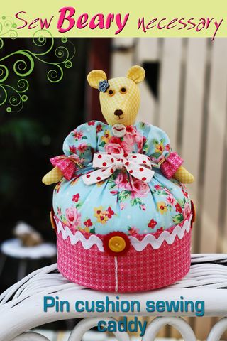 Sew Beary necessary sewing pin cushion caddy