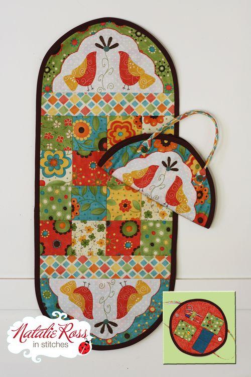 Winterberry Birds sewing machine mat & caddy   NR61